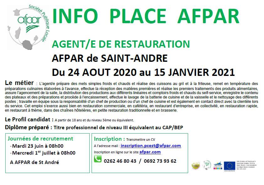 Formation deAGENT/E de restaurationproposée à l'AFPAR de St André