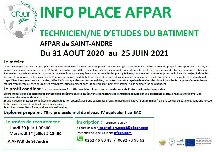 Formation TECHNICIEN/NE d'Etudes du bâtiment proposée à l'AFPAR de Saint-André