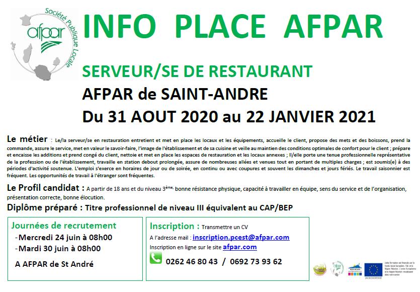 Formation de SERVEUR/SE de restaurant proposée à l'AFPAR de Saint-André.